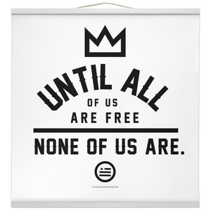 """None Of Us"" Hanging Canvas Print - White"