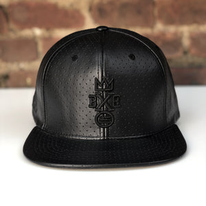 """BXB CRWN"" Leather Perforated Snapback"