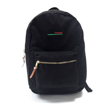 "Load image into Gallery viewer, Black On Black Backpack - ""A Thin Red, Black and Green Line"""