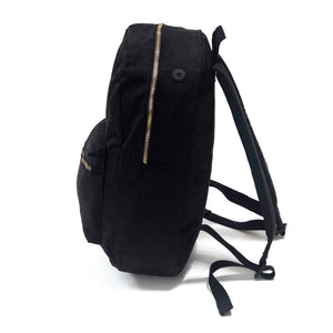 "Black On Black Backpack - ""A Thin Red, Black and Green Line"""