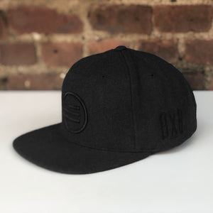 """The Stack"" - Melton Wool Black Snapback"