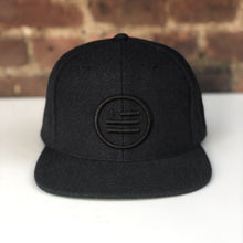 "Load image into Gallery viewer, ""The Stack"" - Melton Wool Black Snapback"