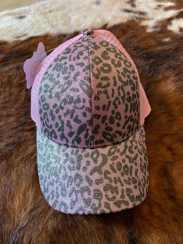 Pink Leopard Pony Tail Cap
