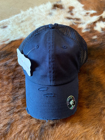 Navy Distressed Pony Tail Cap