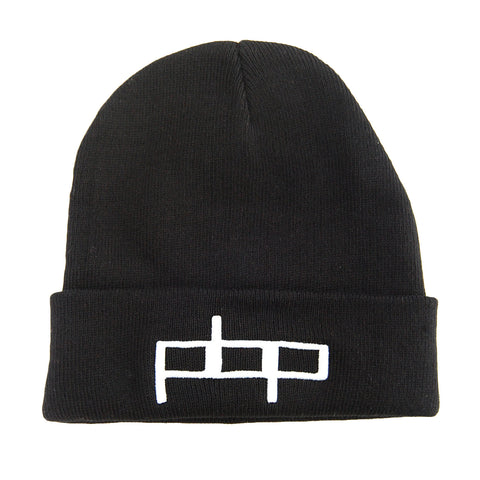 Poor Boyz Productions Black Knit Beanie with 3D embroidered PBP Logo