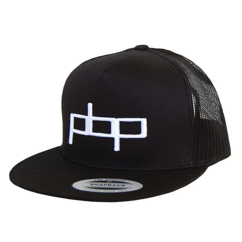 Poor Boyz Productions All Black Trucker Mesh Snapback with embroidered PBP logo