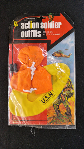 Action Soldier Outfits, Inflatable Life Raft, Life Vest and Binoculars
