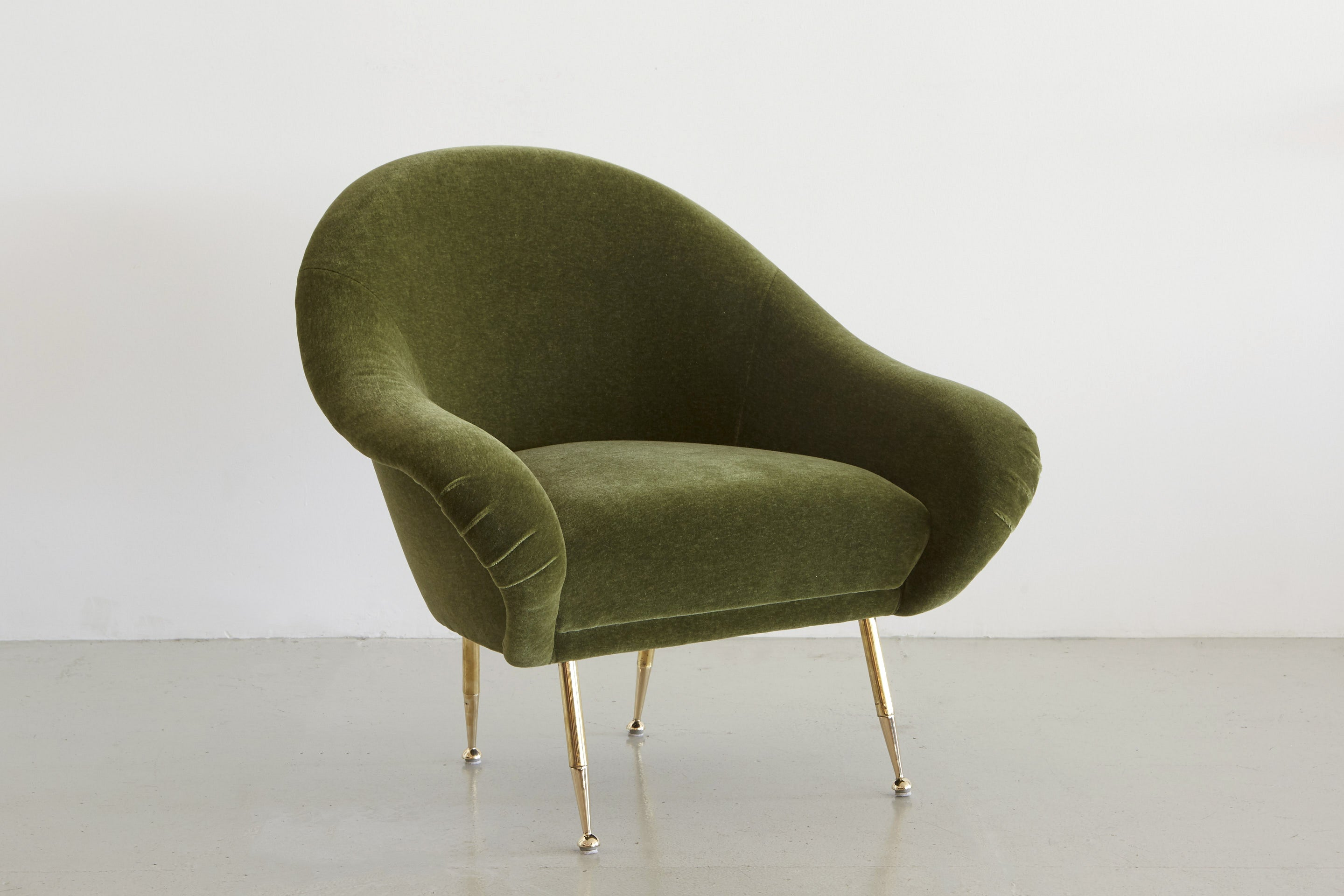 ... Italian Slipper Salon Chair In Olive Mohair ...