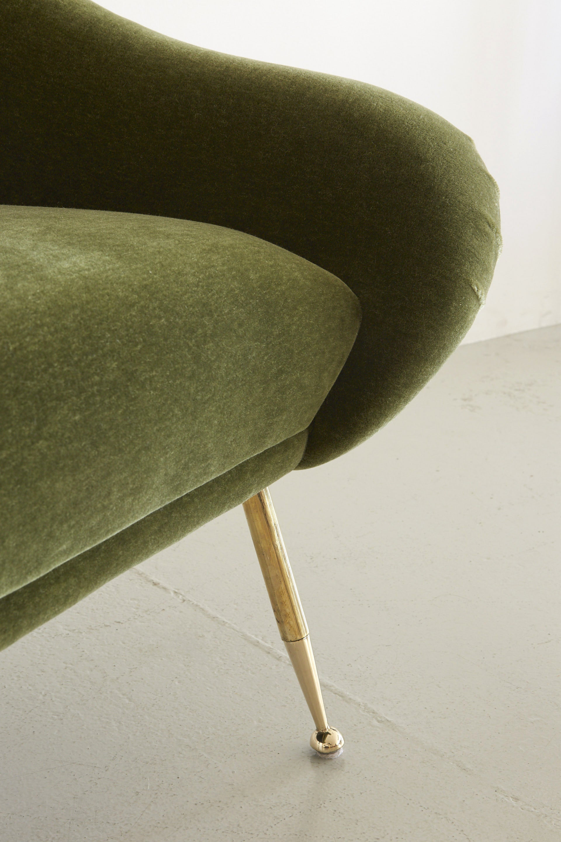 Italian Slipper Salon Chair In Olive Mohair ...