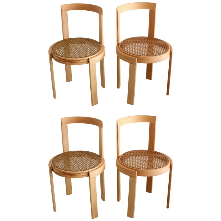 ... Set Of 4 Italian Bentwood Cane Chairs In Natural Beech ...