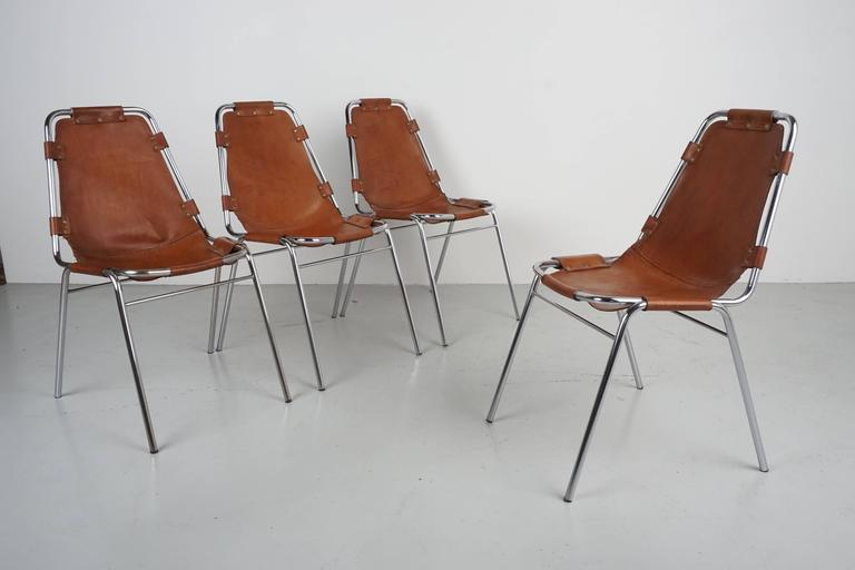 Charlotte Perriand Les Arcs Chairs, Tan Leather ...