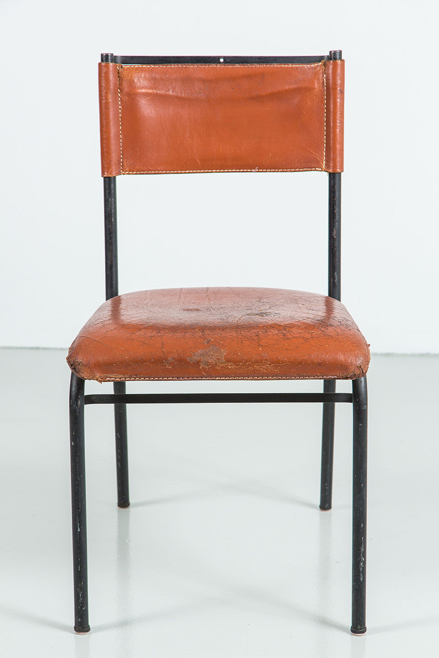 Pair Of Jacques Adnet Leather And Metal Dining Chairs Orange