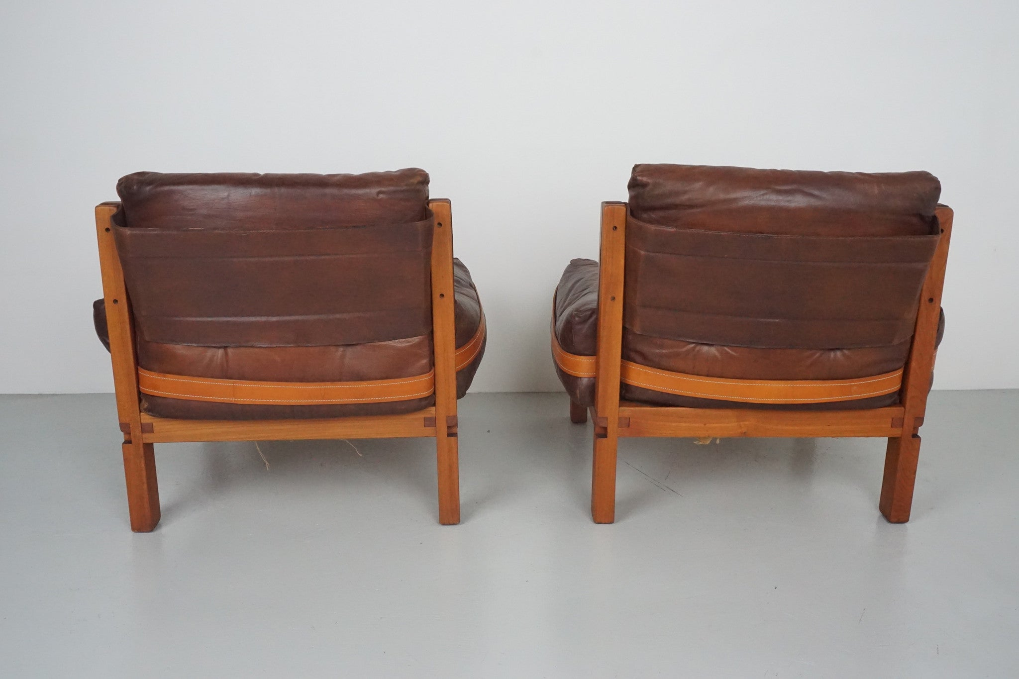 Pair of Leather Club Chairs by Pierre Chapo Orange Furniture Los