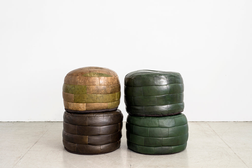 De Sede Leather Brick Patchwork Ottomans