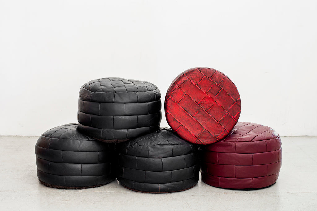 De Sede Leather Pyramid Patchwork Ottomans