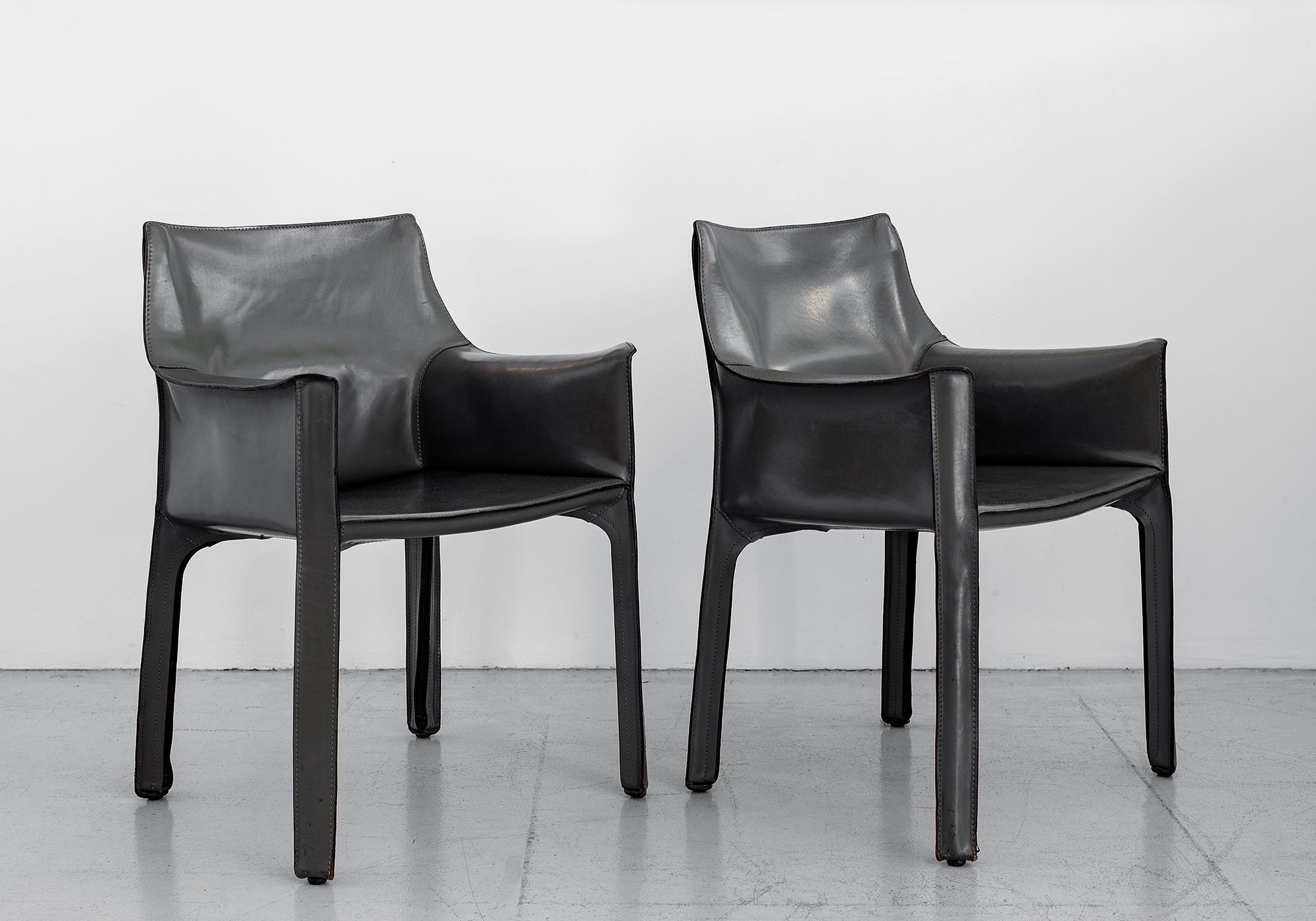 Grey Leather Cab Arm Chairs By Mario Bellini For Cassina Orange