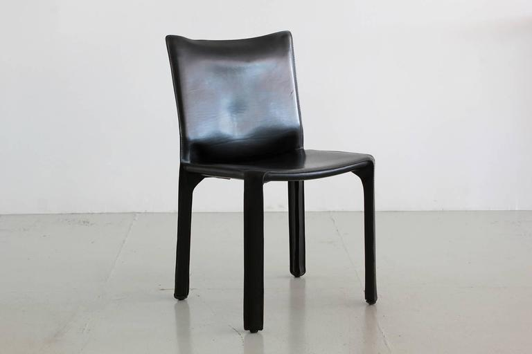 ... Black Leather U0027CABu0027 Chairs By Mario Bellini For Cassina ...