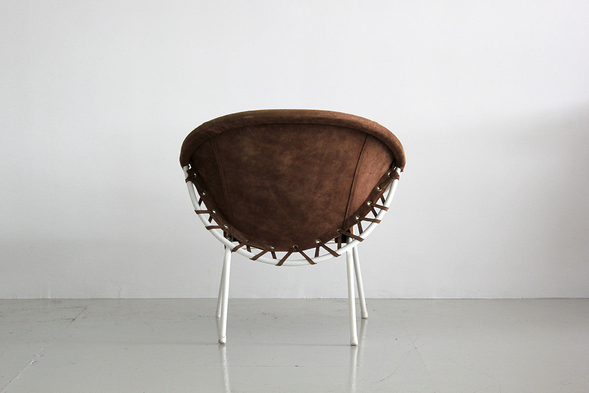 Gentil ... Austrian White Iron And Olive Suede Scoop Chair ...