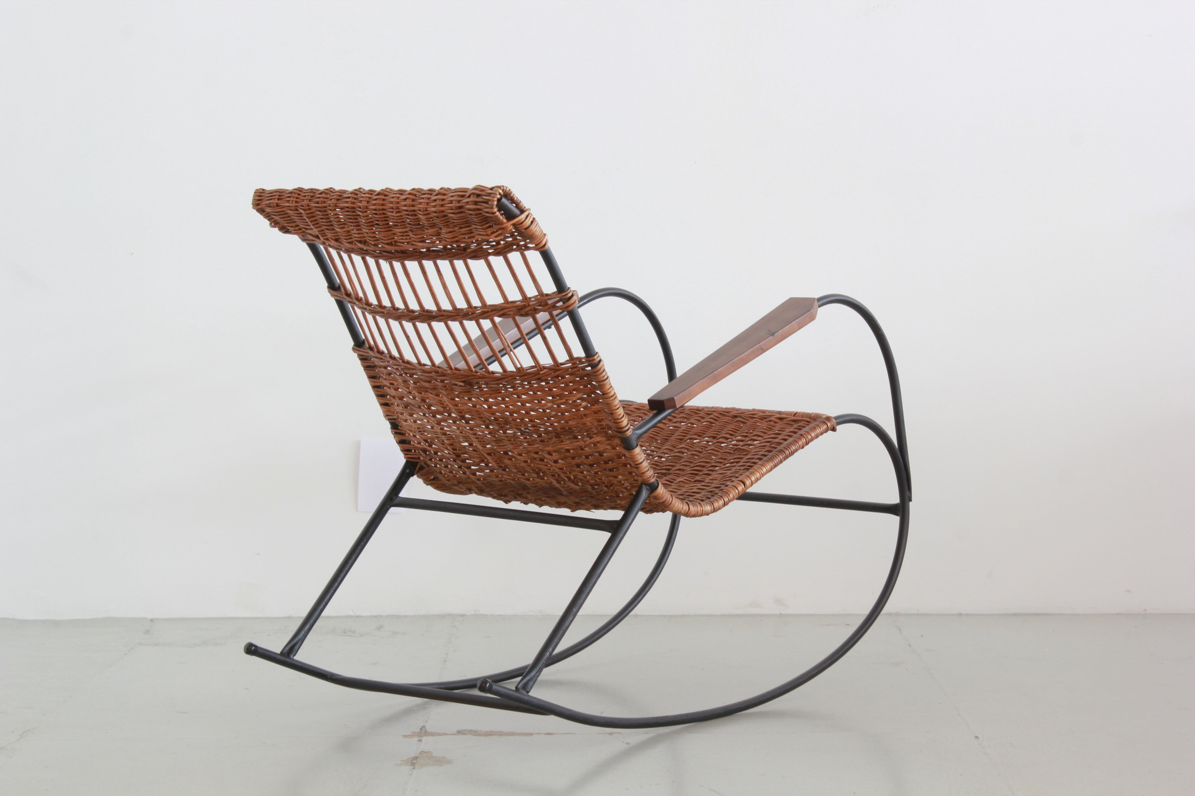 ... Pair of German Wicker Rocking Chairs ... & Pair of German Wicker Rocking Chairs - Orange Furniture Los Angeles