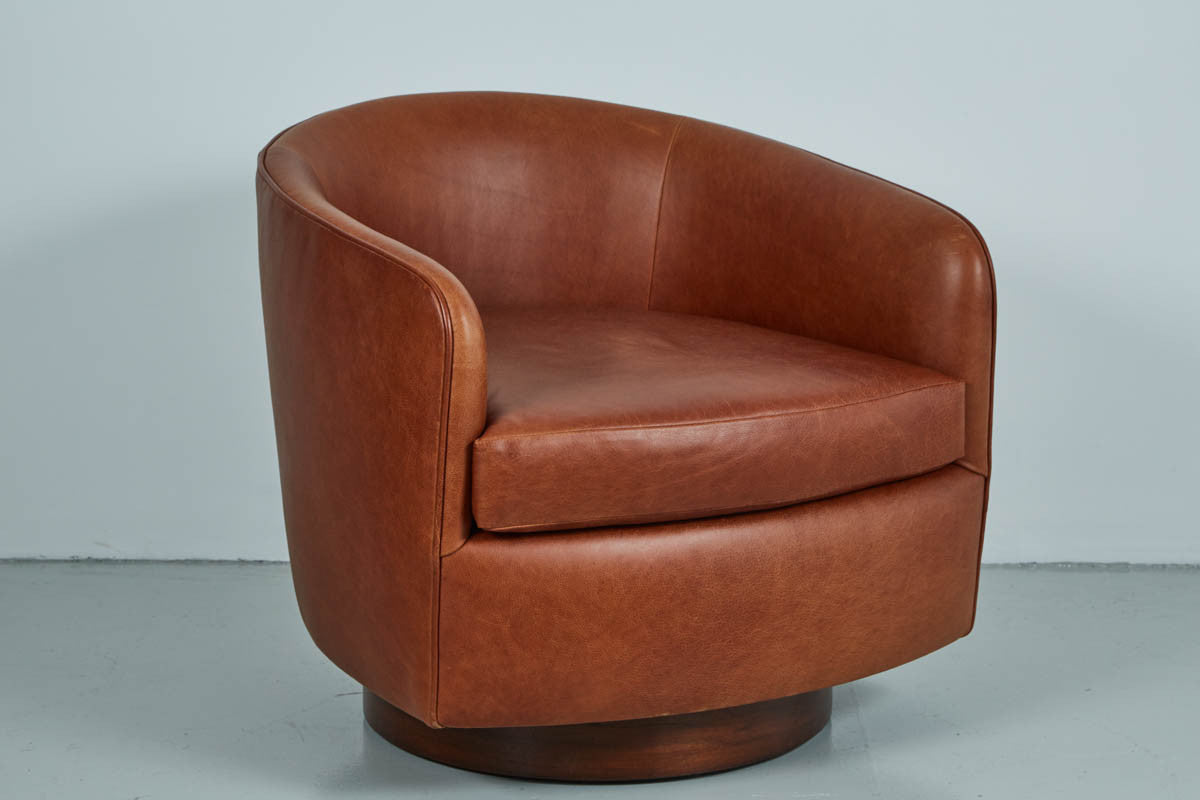 Saddle Leather Swivel Chairs In The Style Of Milo Baughman