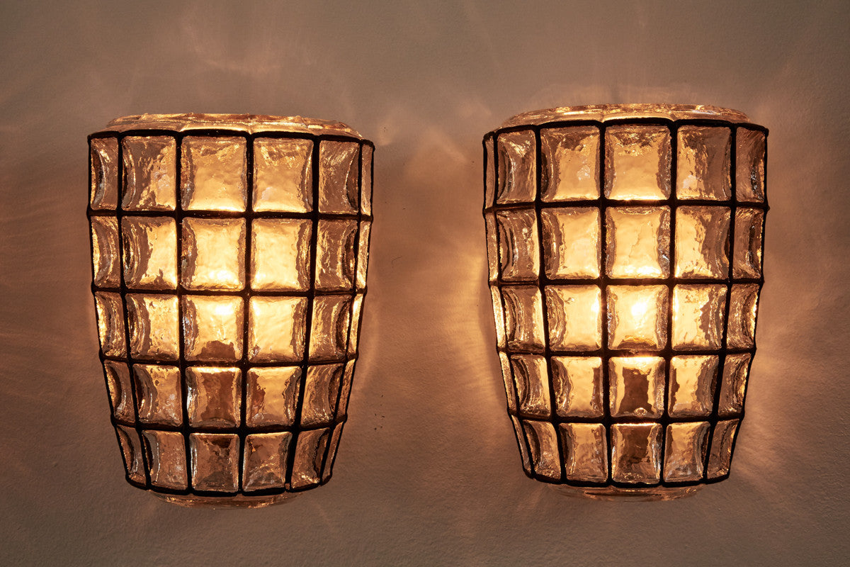 Pair of Large Iron and Square Glass Sconces