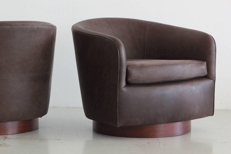 ... Chocolate Leather Swivel Chairs In The Style Of Milo Baughman ...
