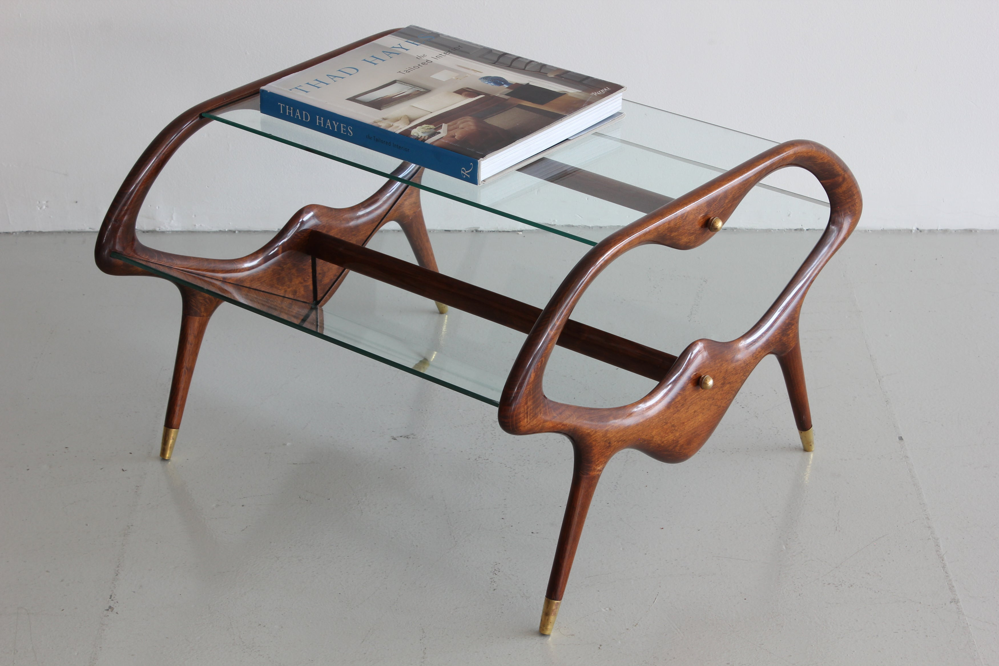 italian glass and walnut table and magazine stand orange