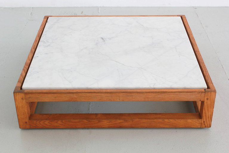 French Modern Marble and Oak Coffee Table - Orange Furniture Los Angeles