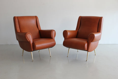 Pair Of Italian Leather Club Chairs