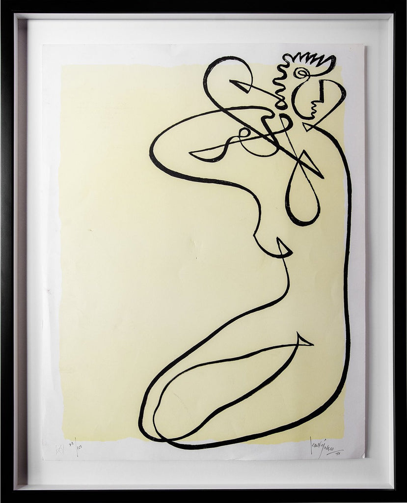 Jean Negulesco Continuous Line Drawings - Yellow
