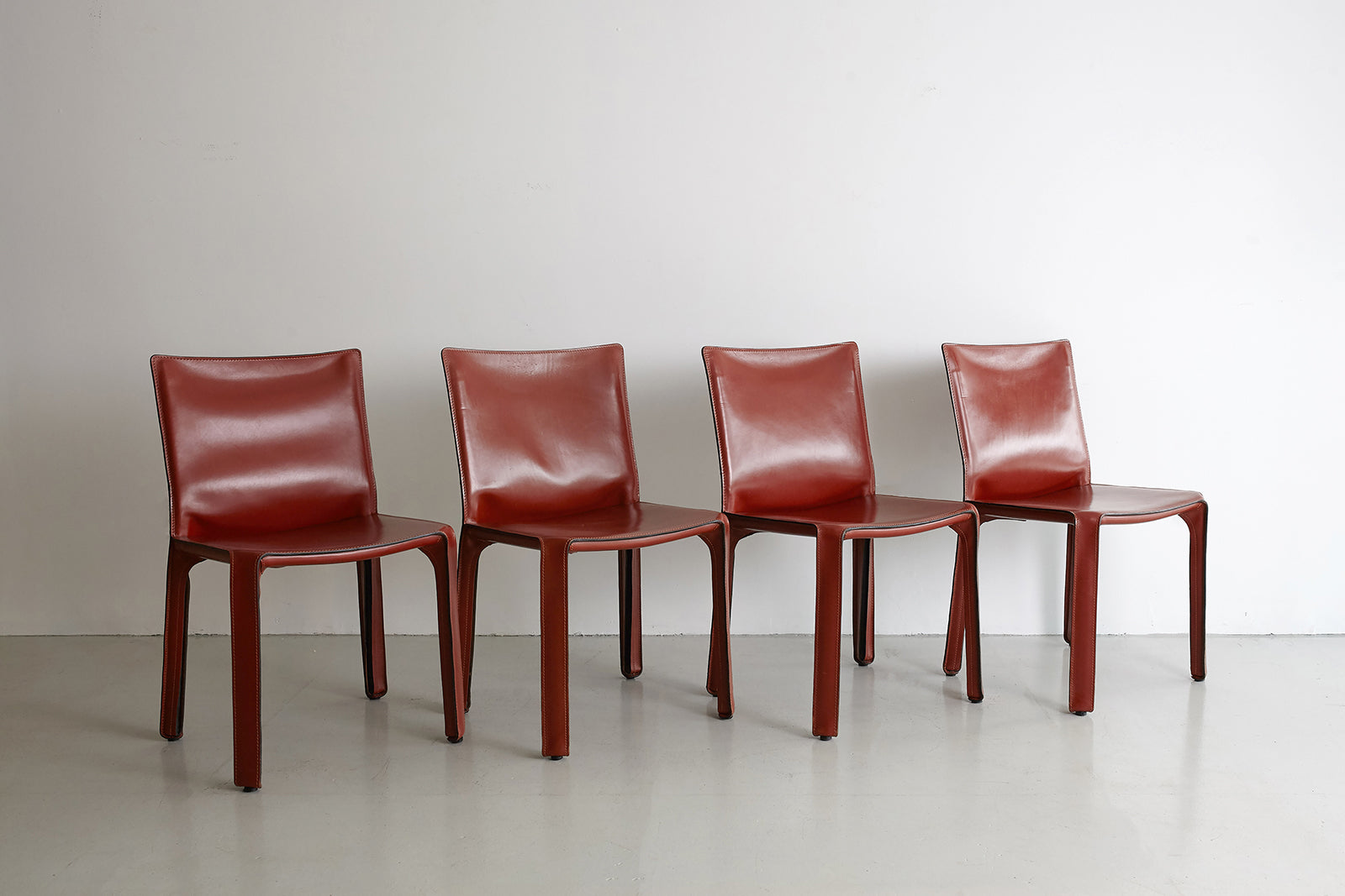 ... Cassina Cab Side Chairs In Red Leather ...