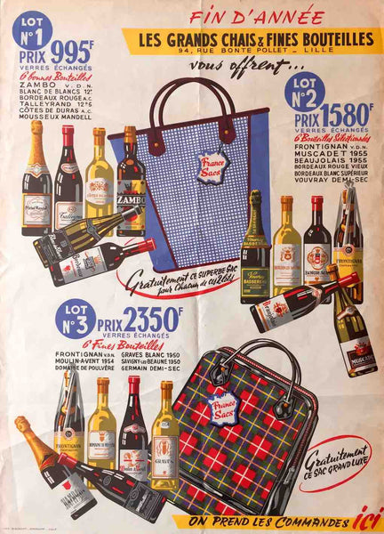 French bottles and bags, 1950s