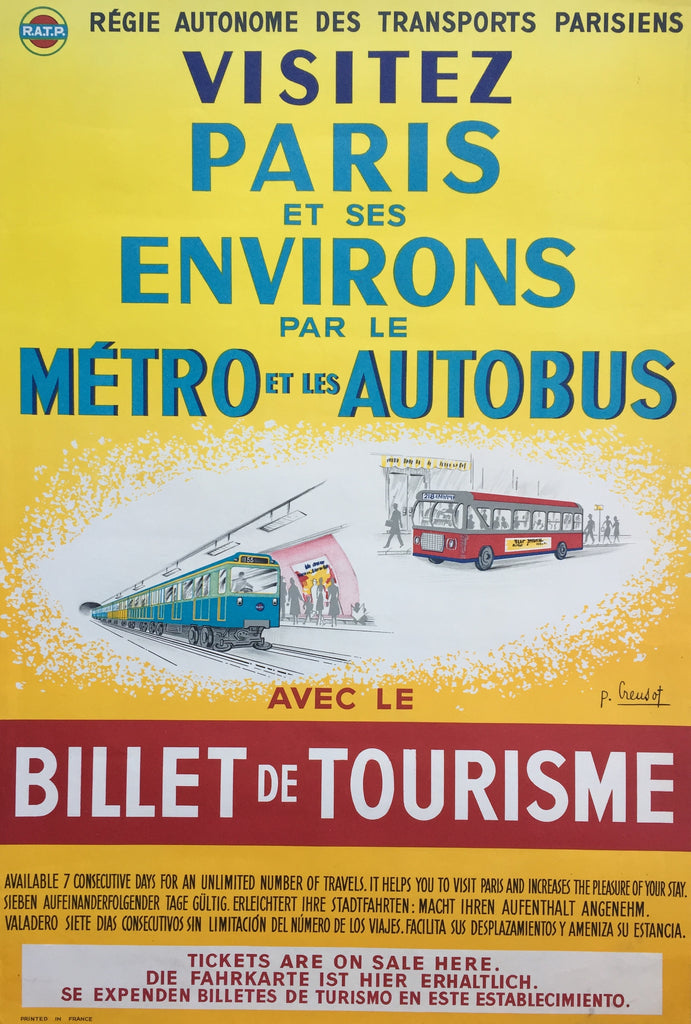 Paris Tourist Travel Tickets, France, 1965