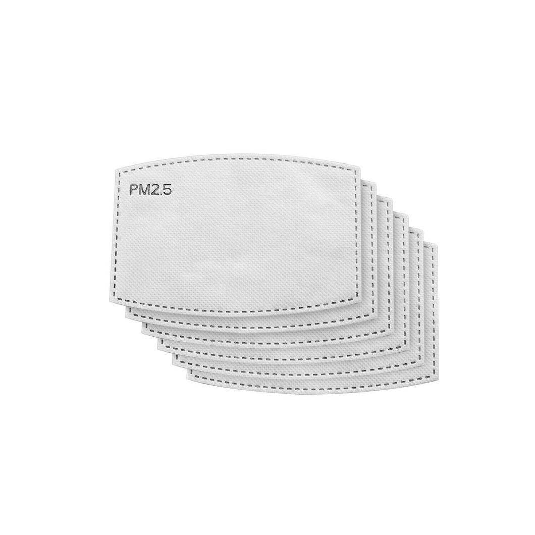 six white n95 and kn95 multi-layer technology filters