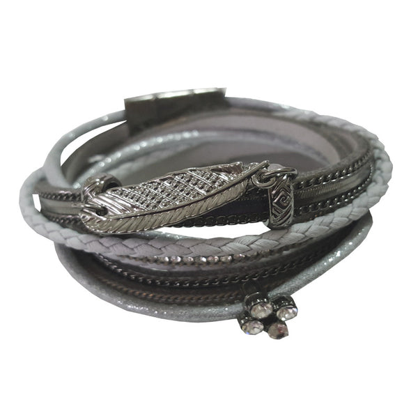 Gunmetal Feather Wrap Bracelet