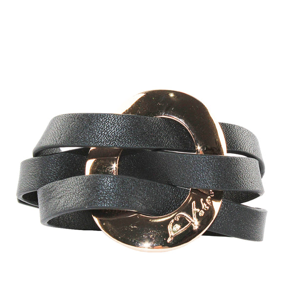 La Votre - Wrapped Bracelet - Rose Gold with Black Leather