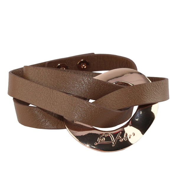 La Votre - Wrapped Bracelet - Rose Gold with Brown Leather