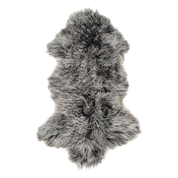 Mongolian Sheepskin Rug - Snow Tipped Charcoal