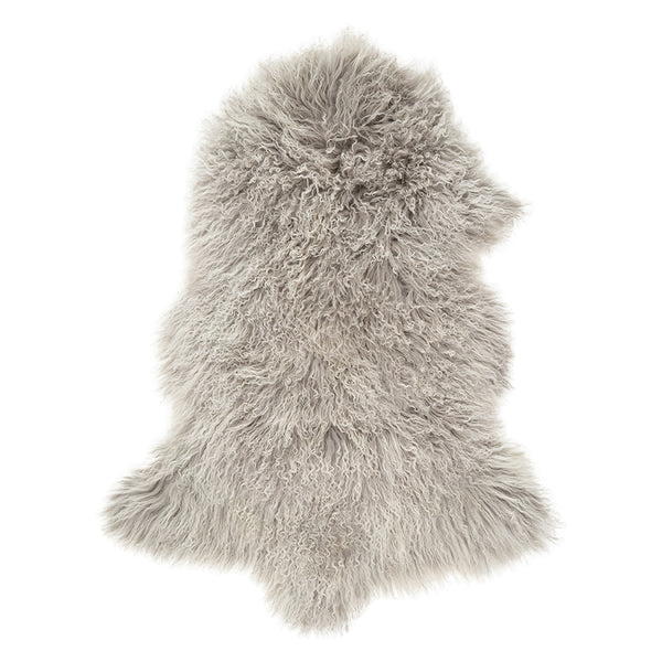 Mongolian Sheepskin Rug - Snow Tipped Grey