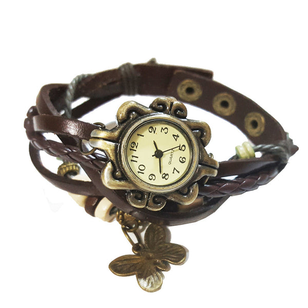 Vintage Charm Bracelet Watch in Mocha