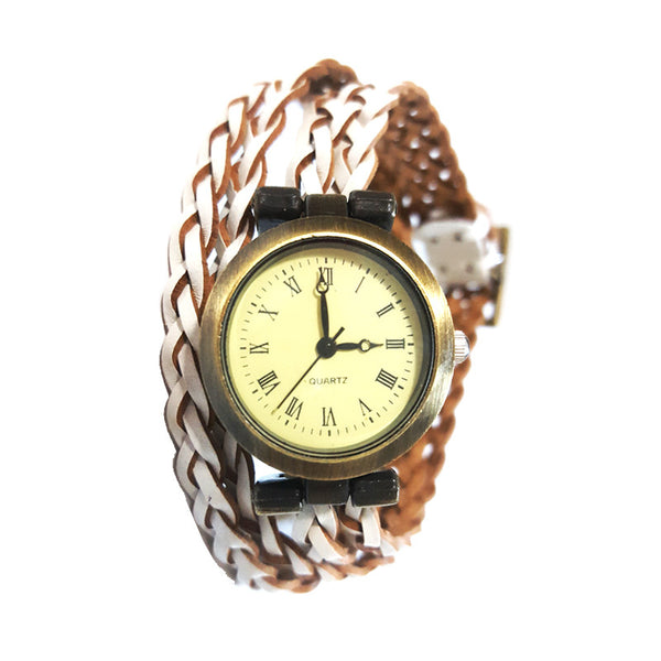 Adele Watch with Woven White Wash Band