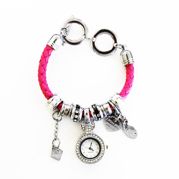 Charm Bracelet Watch in Passion Pink