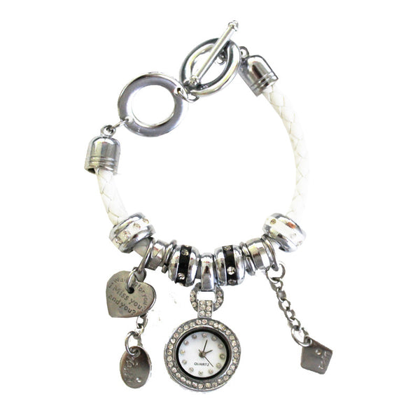 Charm Bracelet Watch in Willow White