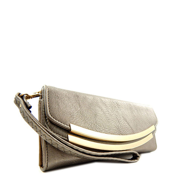 Pewter Tri-fold Clutch-Wallet