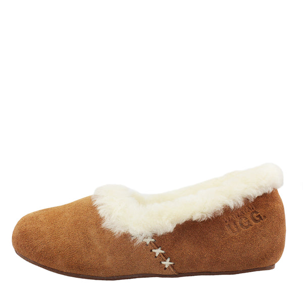 Waratah UGG Woman's Sheepskin Cross Stitch Slippers - Chestnut