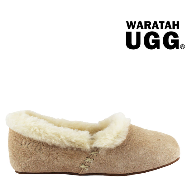 6b418ce38579 Waratah UGG Woman s Sheepskin Cross Stitch Slippers - Sand