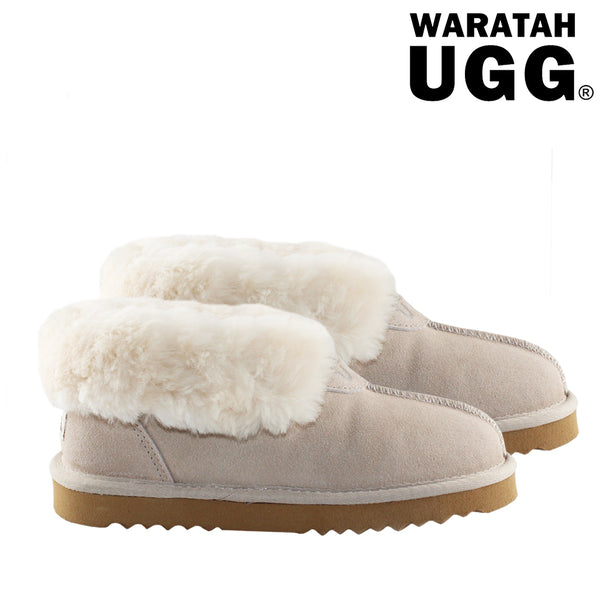 WARATAH UGG® Wool Collar Slipper - Sand