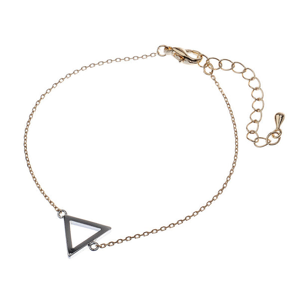 Duo Tone Chain Bracelet with Triangle