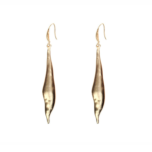 Artisan Matt Gold Drop Earrings