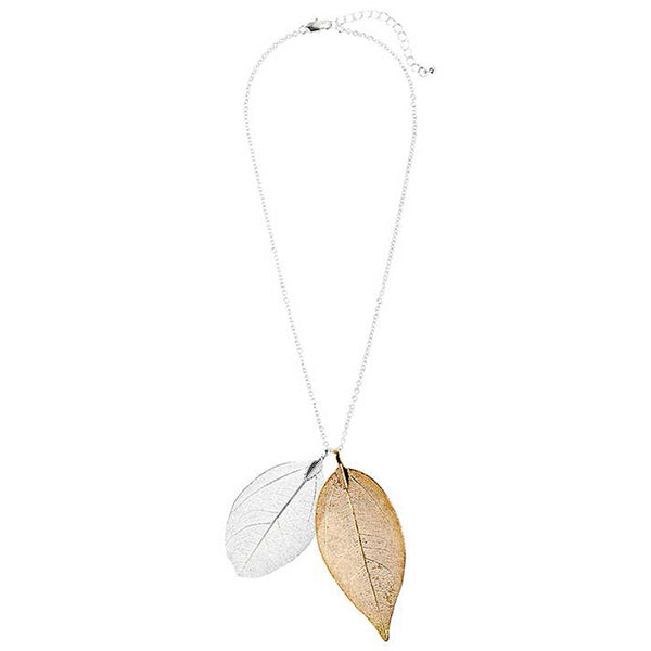 Two Tone Delicate Leaf Necklace